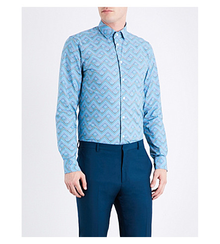 RICHARD JAMES Zigzag-patterned contemporary-fit cotton shirt (Blue/grey