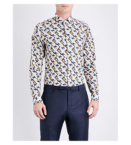 RICHARD JAMES Zigzag-patterned contemporary-fit cotton shirt (Multi+clr
