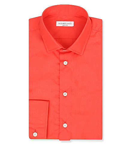 RICHARD JAMES Contemporary-fit single-cuff cotton shirt (Coral