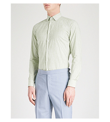 RICHARD JAMES Contemporary-fit patterned cotton shirt (Khaki