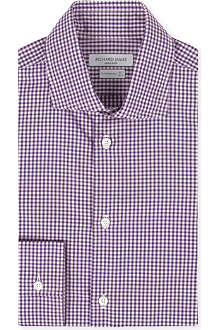 RICHARD JAMES Contemporary-fit single-cuff gingham shirt