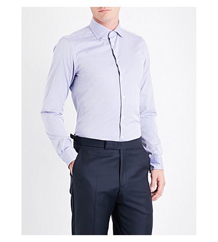 RICHARD JAMES Geometric-print contemporary-fit cotton shirt (Blue