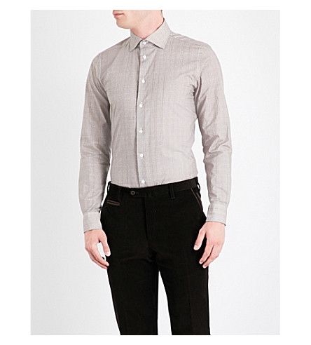 RICHARD JAMES Cross-hatch-patterned contemporary-fit cotton shirt (Brown
