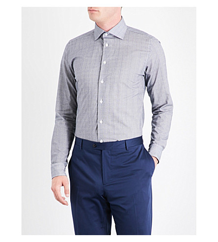 RICHARD JAMES Cross-hatch-patterned contemporary-fit cotton shirt (Blue