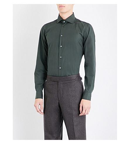 RICHARD JAMES Contemporary-fit cotton-poplin shirt (Dark+olive
