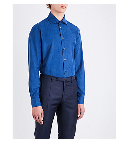 RICHARD JAMES Contemporary-fit corduroy shirt (Blue