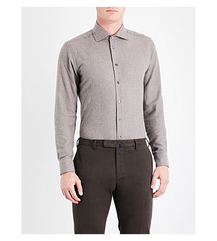 RICHARD JAMES Herringbone contemporary-fit cotton shirt (Fawn