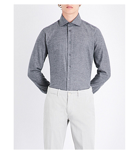 RICHARD JAMES Pindot-pattern contemporary-fit brushed cotton shirt (Grey