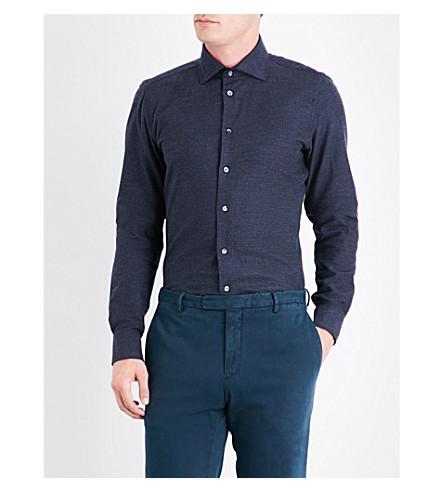 RICHARD JAMES Pindot contemporary-fit cotton-flannel shirt (Blue