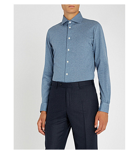 RICHARD JAMES Dotted slim-fit cotton-jersey shirt (Blue
