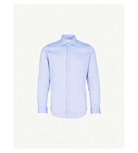 RICHARD JAMES Patterned contemporary-fit cotton shirt (Blue+1