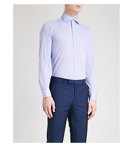 RICHARD JAMES 花纹当代适合棉衬衫 (Blue+1