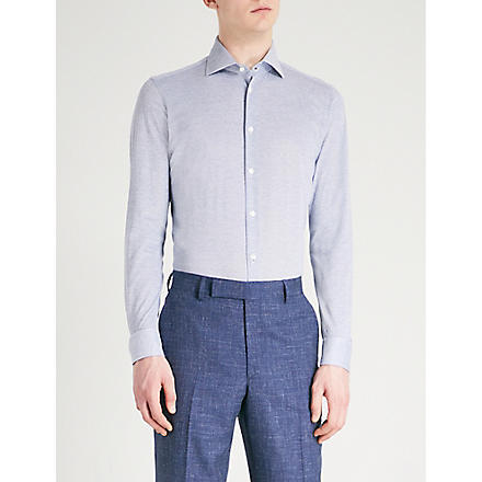 RICHARD JAMES Patterned slim-fit single-cuff shirt (Blue
