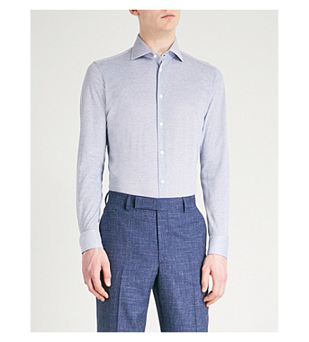 RICHARD JAMES Patterned contemporary-fit cotton shirt (Blue