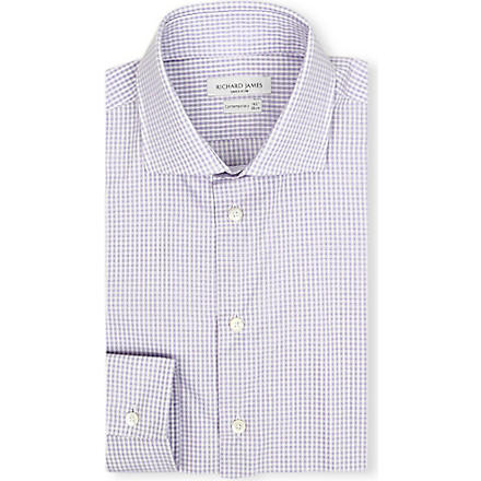 RICHARD JAMES Patterned slim-fit single-cuff shirt (Purple