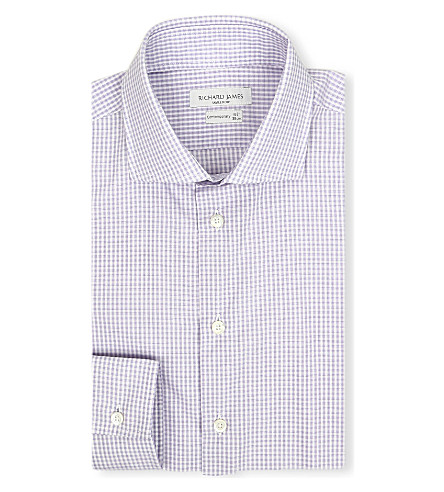 RICHARD JAMES Patterned contemporary-fit shirt (Purple