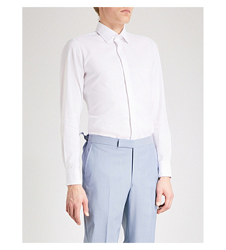 RICHARD JAMES 现代合身棉府绸衬衫 (白色