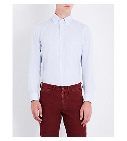 RICHARD JAMES Birdseye-patterned contemporary-fit cotton shirt (Blue