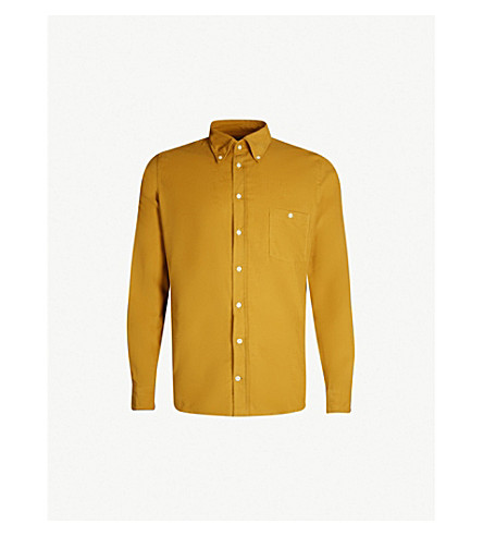 RICHARD JAMES Contemporary-fit fine needle cotton-corduroy shirt (Old gold