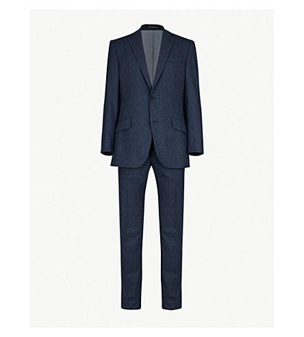 RICHARD JAMES Chalk-stripe wool and cashmere-blend suit (Blue