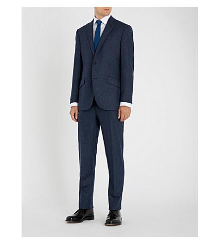 RICHARD JAMES 粉笔条纹羊毛和羊绒混纺西服 (蓝色