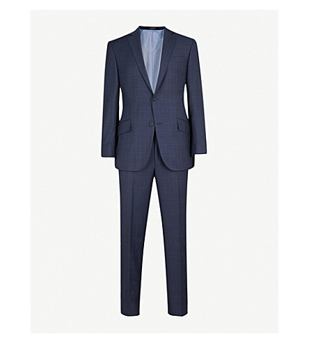 RICHARD JAMES Checked regular-fit wool trousers (Blue