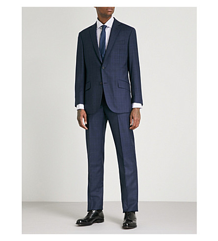 RICHARD JAMES Prince of Wales check regular-fit wool suit (Blue