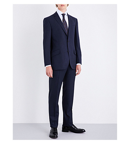 RICHARD JAMES Pinstripe regular-fit wool suit (Navy