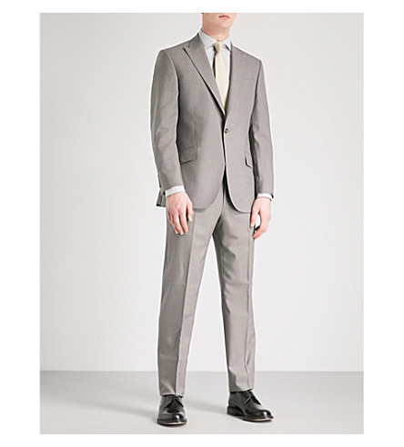 RICHARD JAMES Single-breasted regular-fit wool suit (Stone+grey
