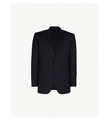 RICHARD JAMES Satin-lapel regular-fit wool and mohair-blend tuxedo jacket (Black