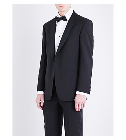 RICHARD JAMES Satin-lapel regular-fit wool and mohair-blend jacket (Black