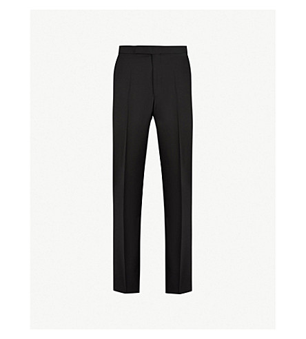 RICHARD JAMES Regular-fit tapered mid-rise wool and mohair-blend trousers (Black