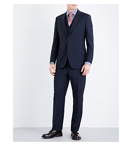 RICHARD JAMES Tapered wool and mohair-blend suit (Navy