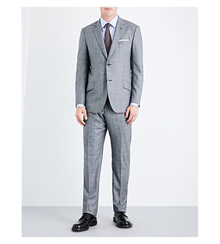 RICHARD JAMES Prince of Wales check regular-fit wool suit (Silver+grey