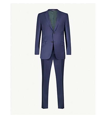 RICHARD JAMES Tailored-fit wool and cashmere-blend suit (Deep+blue