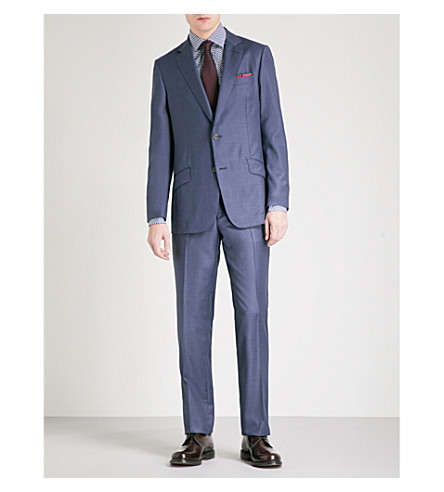 RICHARD JAMES Single-breasted wool suit (Blue+grey