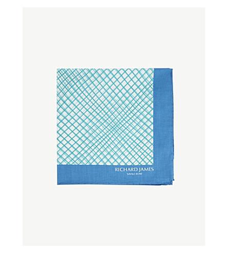 RICHARD JAMES Checked cotton pocket square (Blue