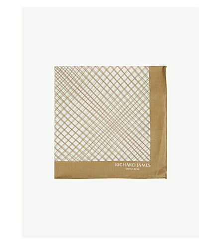 RICHARD JAMES Checked cotton pocket square (Brown