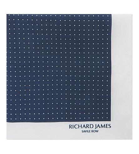 RICHARD JAMES Polka-dot and border cotton pocket square (Navy+white