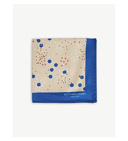 RICHARD JAMES Cluster spots silk pocket square (Blue