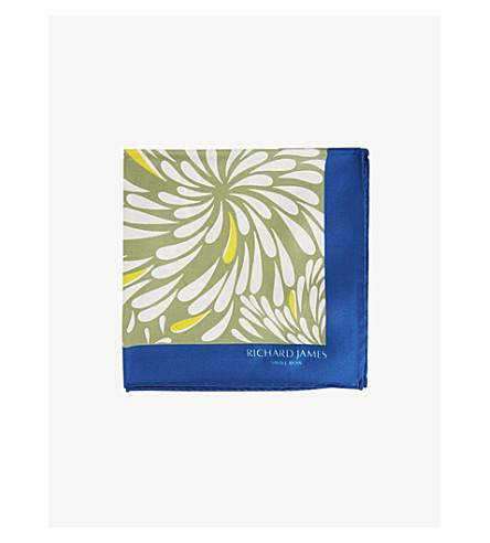 RICHARD JAMES Flower splash silk pocket square (Green