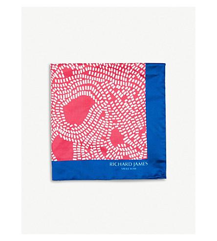 RICHARD JAMES Linear blocks print silk pocket square (Blue