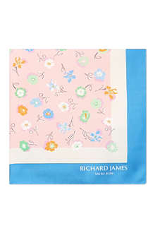 RICHARD JAMES Floral silk pocket square
