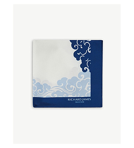 RICHARD JAMES Wave pattern silk pocket square (Blue