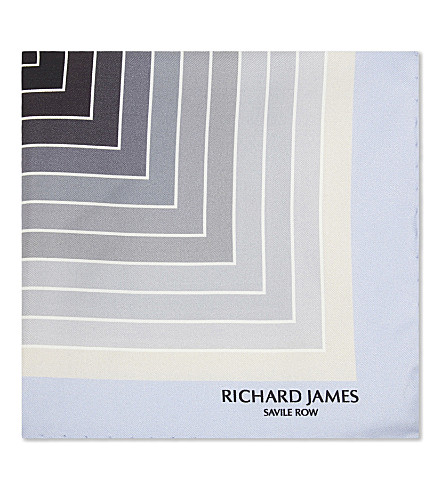 RICHARD JAMES Wave pattern silk pocket square (Silver