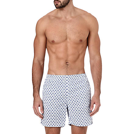RICHARD JAMES Monkey-print swim shorts (Navy