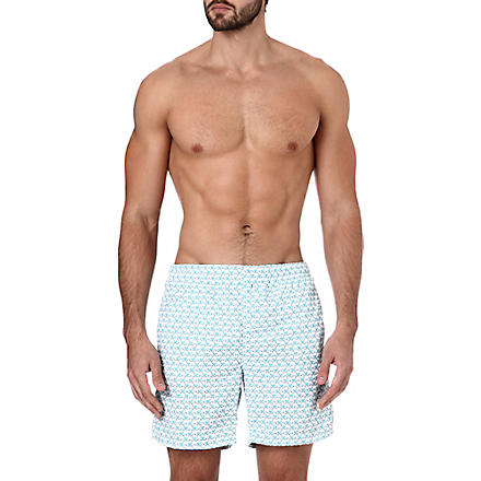RICHARD JAMES Monkey-print swim shorts (Turq