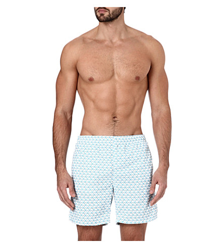 RICHARD JAMES Monkey-print swim shorts (Turq