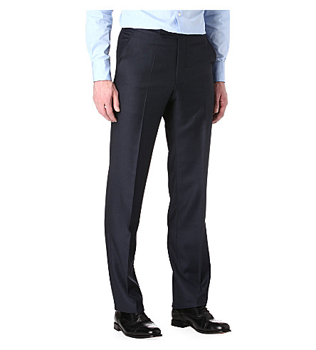 RICHARD JAMES Sharkskin wool trousers (Navy