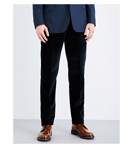 RICHARD JAMES Regular-fit cotton-velvet trousers (Midnight